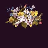 Blom- Retro kort för vår med sparvar Royaltyfria Bilder