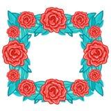 Blom- retro ram för rektangel med röda rosor med sidor Arkivfoton