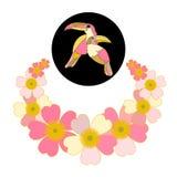 blom- romantiker för bakgrund fågel för tecknad filmregnbågetukan stock illustrationer