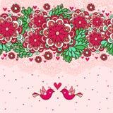 Blom- romantisk bakgrund med förälskade fåglar. Arkivbild