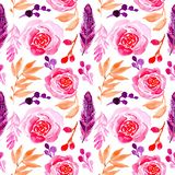 Blom- ros för sömlös modellvattenfärg och fjäderillustration stock illustrationer