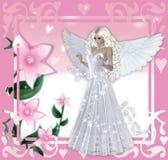 Blom- rosa bakgrund för ängel Fotografering för Bildbyråer