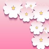 Blom- rosa bakgrund med 3d blommar sakura royaltyfri illustrationer