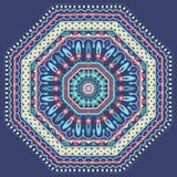 Blom- rund prydnad för vektordesign Dekorativ modellram på blå bakgrund vektor illustrationer