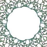 Blom- rund ram för jul Mistel förgrena sig med blad och bär Mall för julhälsningkort Arkivbild