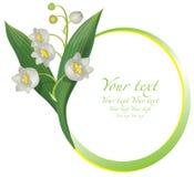 Blom- rund ram för liljekonvalj vektor illustrationer