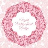 Blom- rund ram för tappning Vektorillustrationkrans med blommor på linjär sömlös bakgrund royaltyfri illustrationer