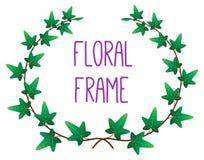 Blom- rund ram för vektor Arkivbild