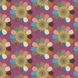 Blom- sömlös abstrakt vektormodell som upprepar retro bakgrund för tappning Arkivfoto