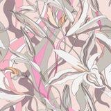 Blom- sömlös bakgrund. Abstrakt liljatextur. Royaltyfria Foton