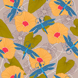 Blom- sömlös bakgrund för sommar också vektor för coreldrawillustration Royaltyfri Foto