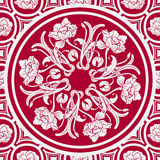 Blom- sömlös bakgrund med en mandala i stilen av kinesisk målning vektor illustrationer