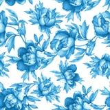Blom- sömlös blå monokrom modell för tappning med blomningpioner, på vit bakgrund royaltyfri illustrationer