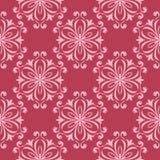 Blom- sömlös design på röd bakgrund