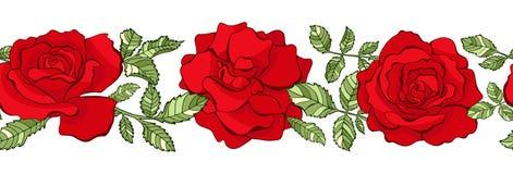 Blom- sömlös gräns för vektor röda ro vektor illustrationer