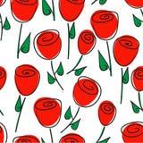 Blom- sömlös modell av röda rosor och stiliserade blommor fotografering för bildbyråer