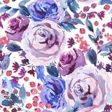 Blom- sömlös modell för abstrakt vattenfärg, Violet Watercolor Roses, blommor, ris, sidor, bär, knopp stock illustrationer
