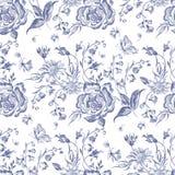 Blom- sömlös modell för broderi med blåa rosor och kamomillar royaltyfri illustrationer