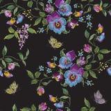 Blom- sömlös modell för broderitrend med pansies och smör royaltyfri illustrationer