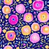 Blom- sömlös modell för handmålarfärgvattenfärg Blommor och lämnar Kan användas för inbjudningar, kort eller tryck Royaltyfria Foton