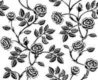 Blom- sömlös modell för tappning med klassisk hand drog rosor Arkivfoto