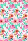 Blom- sömlös modell för vattenfärg Royaltyfria Bilder