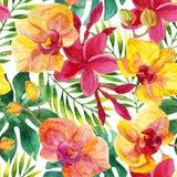 Blom- sömlös modell för vattenfärg royaltyfri illustrationer