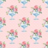 Blom- sömlös modell för vattenfärg Glass vas med rosor Royaltyfri Foto