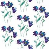 Blom- sömlös modell för vattenfärg med blommor och blad Arkivfoto