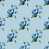 Blom- sömlös modell för vattenfärg med blommor och blad Royaltyfria Foton
