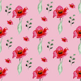Blom- sömlös modell för vattenfärg med blommor och blad Royaltyfri Fotografi