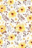 Blom- sömlös modell för vattenfärg med gulingblommor och blad royaltyfri illustrationer