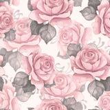 Blom- sömlös modell för vattenfärg Rosa rosor 5 Arkivfoto