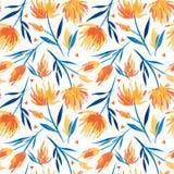Blom- sömlös modell för vektorakvarell, delikata blommor, gräsplan, turkos och rosa färgblommor Arkivbilder