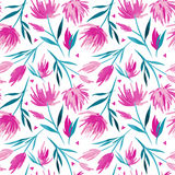 Blom- sömlös modell för vektorakvarell, delikata blommor, gräsplan, turkos och rosa färgblommor Royaltyfria Bilder
