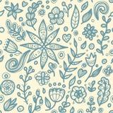 Blom- sömlös blom- modell i klotterstil Royaltyfria Foton