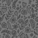 Blom- sömlös blom- modell i klotterstil Royaltyfri Foto