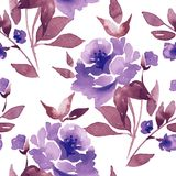 Blom- sömlös modell med blommor Arkivfoton