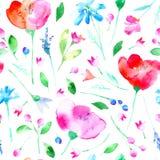 Blom- sömlös modell med den vallmoblommor, blåklocka, lavendel, blåklint, kamomill och tusenskönan Arkivfoton
