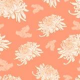 Blom- sömlös modell med krysantemumet på ljus - orange backg Arkivbild