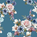 Blom- sömlös modell med petunior, helleboren, rosor och iriers stock illustrationer