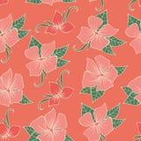 Blom- sömlös modell med rosa blommor Arkivfoton