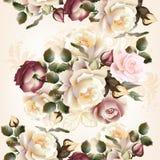 Blom- sömlös modell med rosor och blommor i vattenfärgst vektor illustrationer