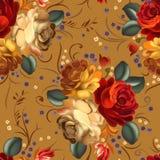 Blom- sömlös modell med tappningblommor stock illustrationer