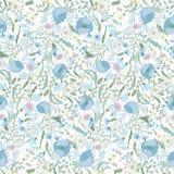 Blom- sömlös modell med vårblommor Ändlös textur för den romantiska designen, garnering, hälsningkort, affischer Fotografering för Bildbyråer