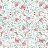 Blom- sömlös modell med vårblommor Ändlös textur för den romantiska designen, garnering, hälsningkort, affischer Arkivfoton