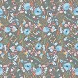 Blom- sömlös modell med vårblommor Ändlös textur för den romantiska designen, garnering, hälsningkort, affischer Royaltyfri Bild