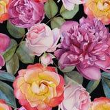 Blom- sömlös modell med vattenfärgrosor och pioner royaltyfri illustrationer