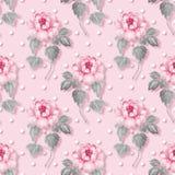 Blom- sömlös modell, rosa färgblommor Arkivfoton