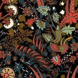Blom- sömlös modell, textureffekt Indisk färgrik prydnad Dekorativa blommor och Paisley för vektor Etnisk stil royaltyfri illustrationer